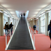 Students in the corridor of a university.